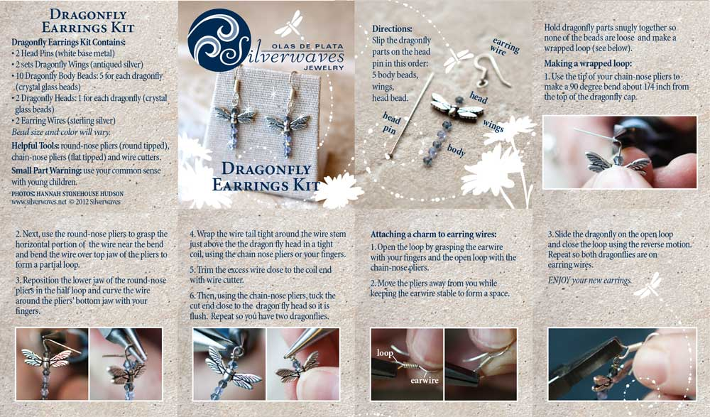 Dragonfly Earrings Kit Instructions